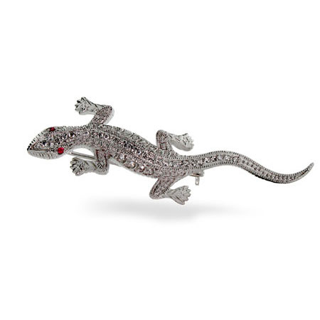 Sterling Silver Diamond Cubic Zirconia Lizard Pin