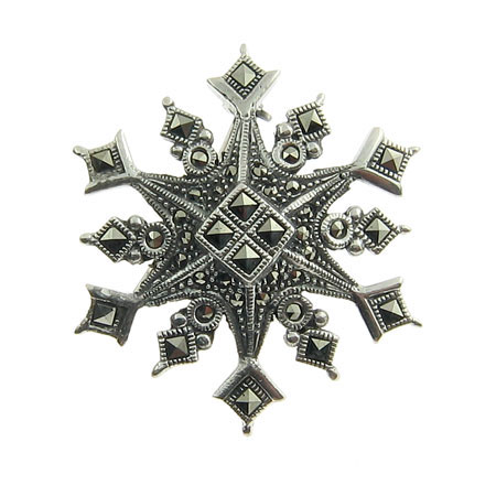 Sterling Silver and Marcasite Holiday Snowflake Pin