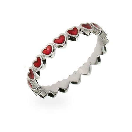 Red Enamel Band Of Hearts Ring