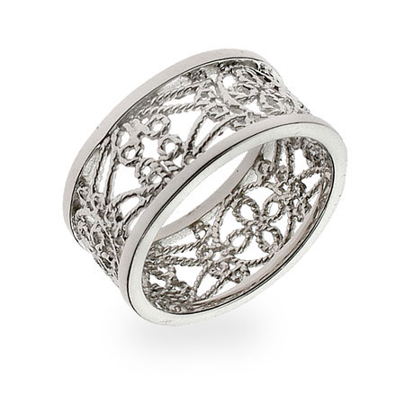 Sterling Silver Vintage Style Filigree Band