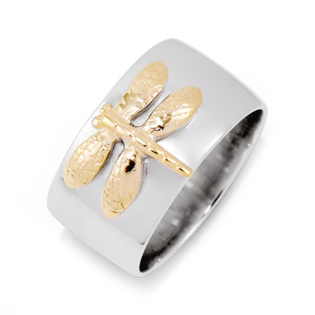 Tiffany Style Sterling Silver Gold Dragonfly Ring