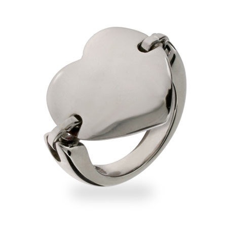 Heart Tag Stainless Steel ID Saddle Ring