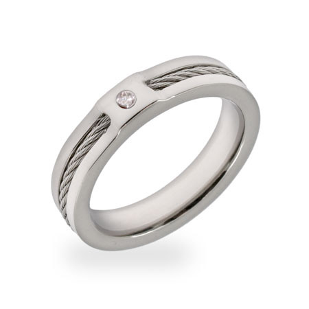 Men's Inlaid Cable CZ Engravable Promise Band
