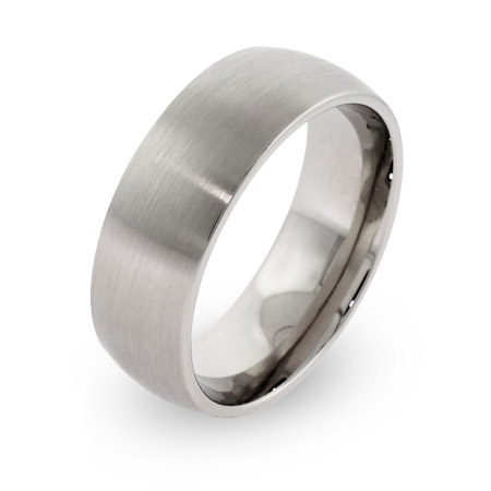 7mm Brushed Stainless Steel Wedding Band