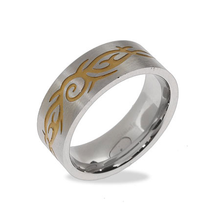 Men's Stainless Steel Tribal Design Ring