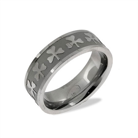 Luck of the Irish Stainless Steel Shamrock Band