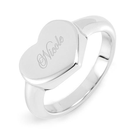 Tiffany Style Stainless Steel Engravable Heart Signet Ring