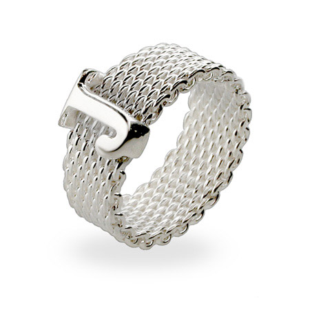 Tiffany Inspired Sterling Silver Mesh Initial Ring