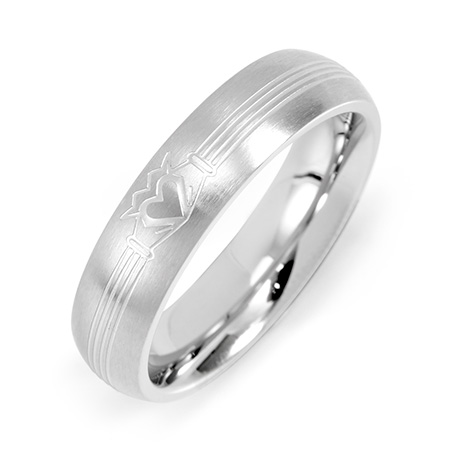 Women's Stainless Steel Claddagh Message Band