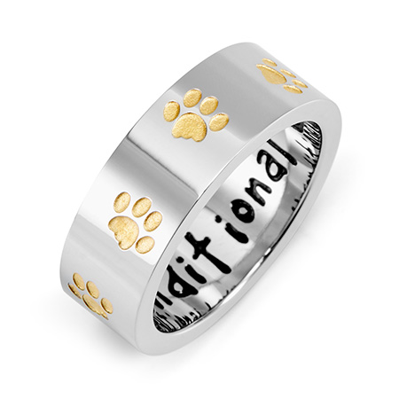 Unconditional Love Stainless Steel Golden Paw Print Ring