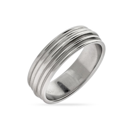 Men's Stainless Steel Ribbed Message Band