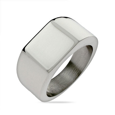 Men's Large Square Cut Engravable Signet Ring