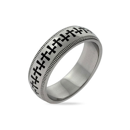 Band of Crosses Engravable Message Ring