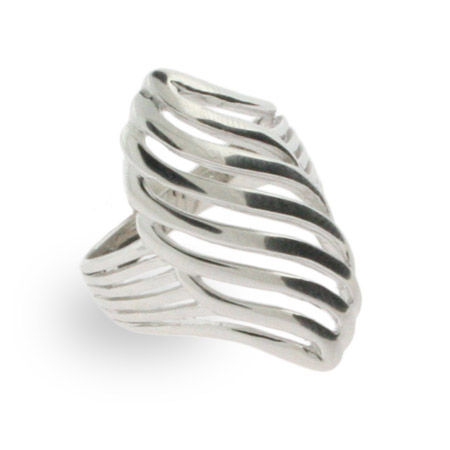Sterling Silver Modern Style Leaf Ring
