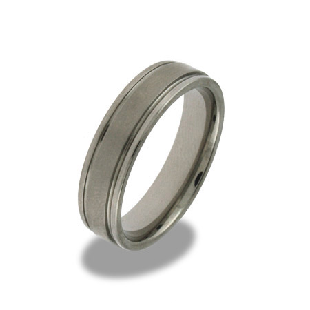 Mens Engravable Beveled Edge Titanium Band