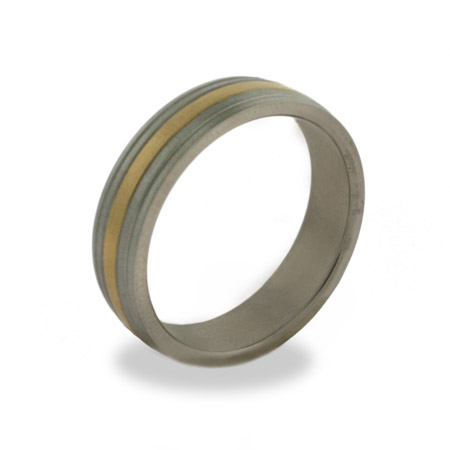 Mens Engravable Gold Stripe Titanium Band