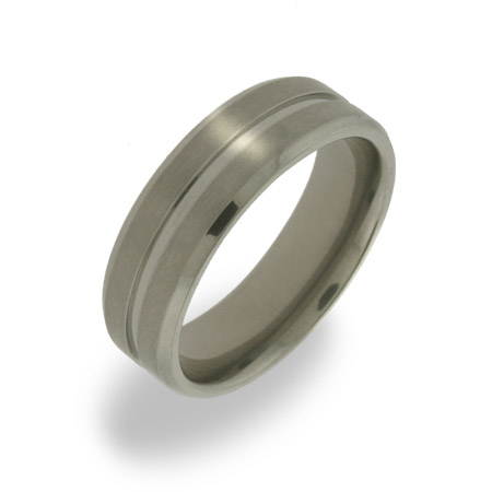 Mens Single Groove Titanium Ring
