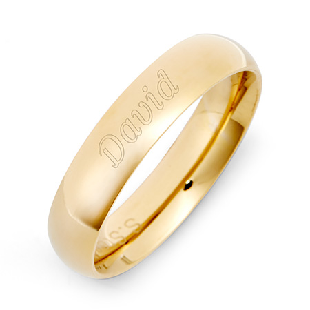 18K Gold Plated 5mm Stainless Steel Comfort Fit Band