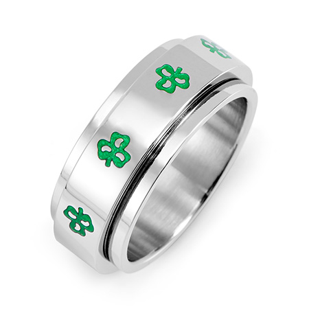 Irish Clovers Stainless Steel Spinner Ring