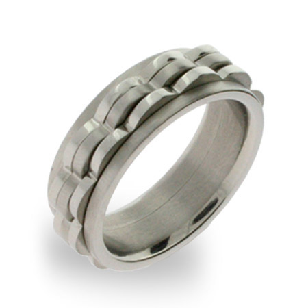Mens Triple Wave Stainless Steel Spinner Ring