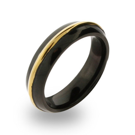 Mens Stainless Steel Black Plated Gold Rimmed Engravable Band