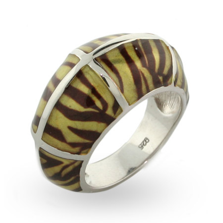 EvesAddiction.com Tiger Enamel Silver Ring - Clearance Final Sale at Sears.com