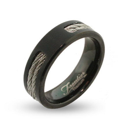 Mens Black Engravable Titanium Signet Ring with Double Cable Inlay