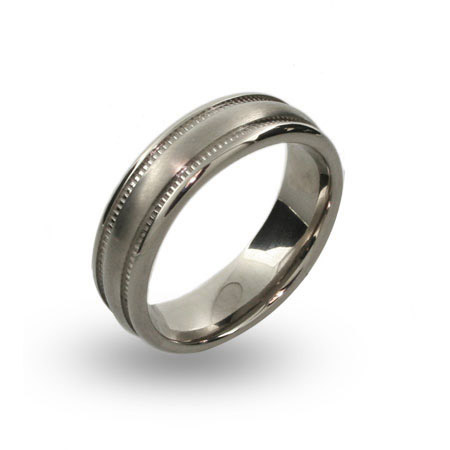 Mens Engravable Brushed Titanium Rings with Millgrain Pattern