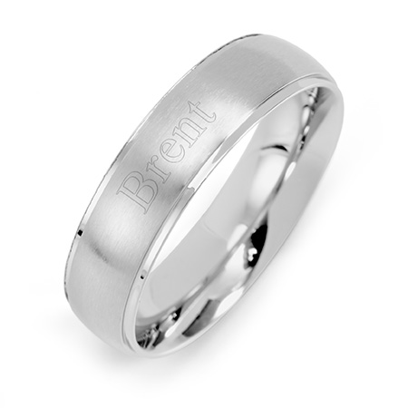 Mens 6mm Raised Stainless Steel Engravable Band