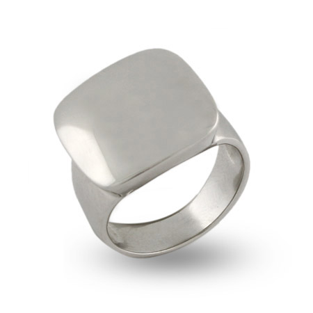 Engravable Sterling Silver Cushion Ring