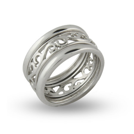 Sterling Silver Stackable Filigree Ring Set