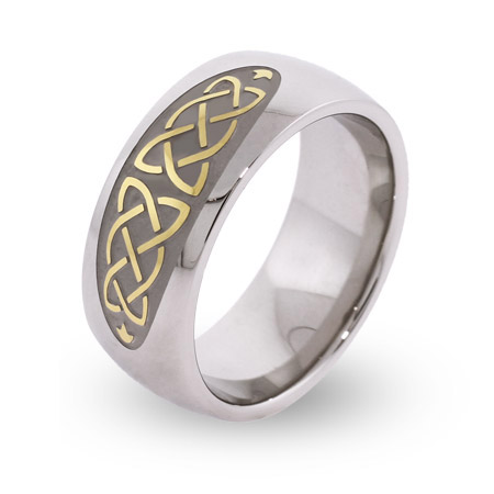 Engravable Gold and Silver Celtic Knot Comfort Fit Band