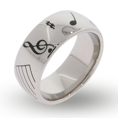 Musical Notes Engravable Message Band