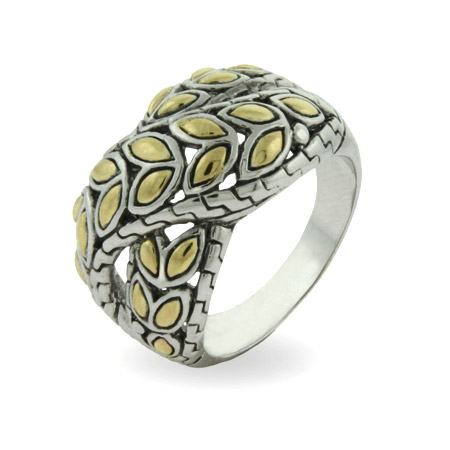 Designer Inspired Golden Leaf Design Crossover Ring