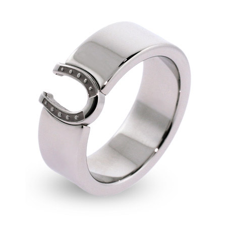 Engravable Stainless Steel Lucky Horseshoe Message Band