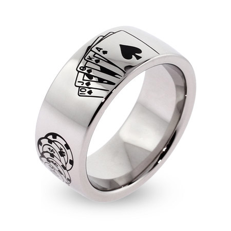 Engravable Stainless Steel Poker Ring