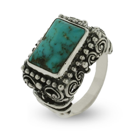 Ornate Bali Style Rectangle Cut Sterling Silver Turquoise Ring