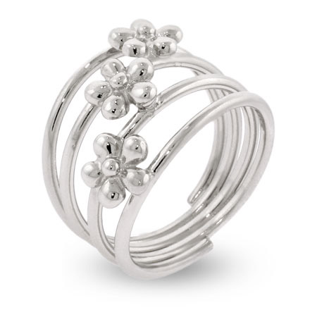 Silver Triple Flower Banded Ring