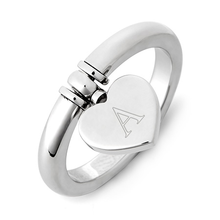 Engravable Stainless Steel Dangle Heart Ring