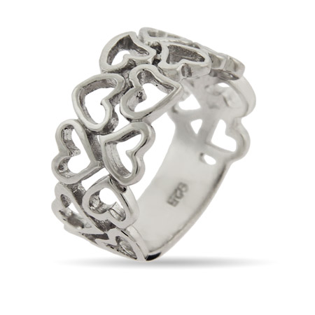 16 Hearts Sterling Silver Ring