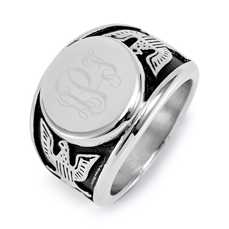 Men's Engravable Stainless Steel American Bald Eagle Signet Ring
