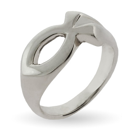 Sterling Silver Ichthys Jesus Fish Ring