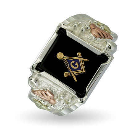 Genuine Black Hills Gold On Sterling Silver Men's Onyx Masonic Ring