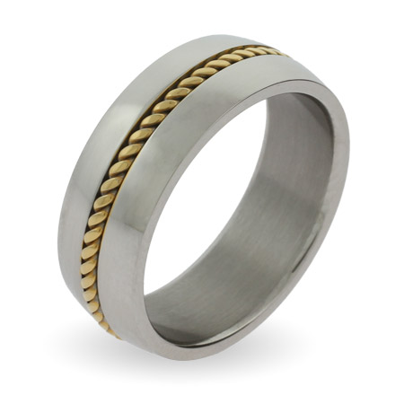 Men's Gold Braid Stainless Steel Engravable Band