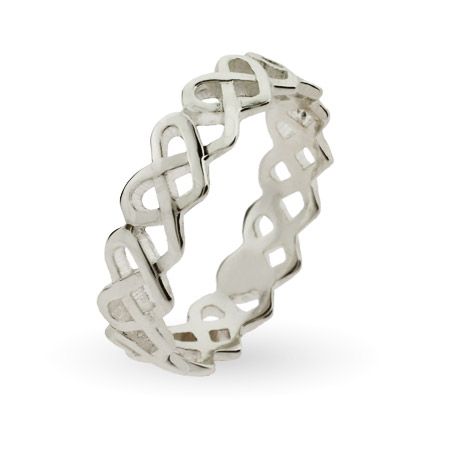 Woven Hearts Sterling Silver Stackable Ring