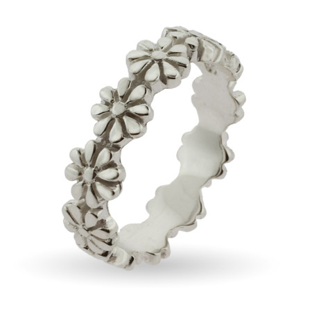 Stackable Reflections Ring of Flowers Silver Stackable Band