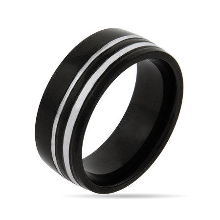 Men's Modern Double Steel Lined Black Plate Band