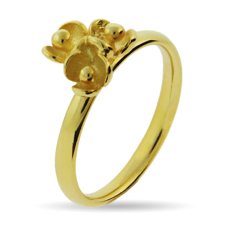 Stackable Reflections Gold Vermeil Triple Flower Stackable Ring