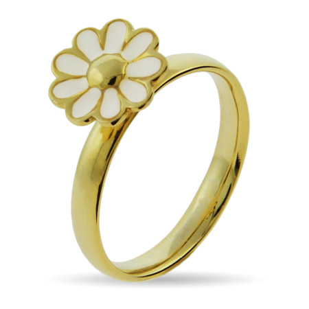 Stackable Reflections Gold Vermeil White Daisy Stackable Ring