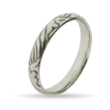 Stackable Reflections Engraved Design Silver Stackable Ring